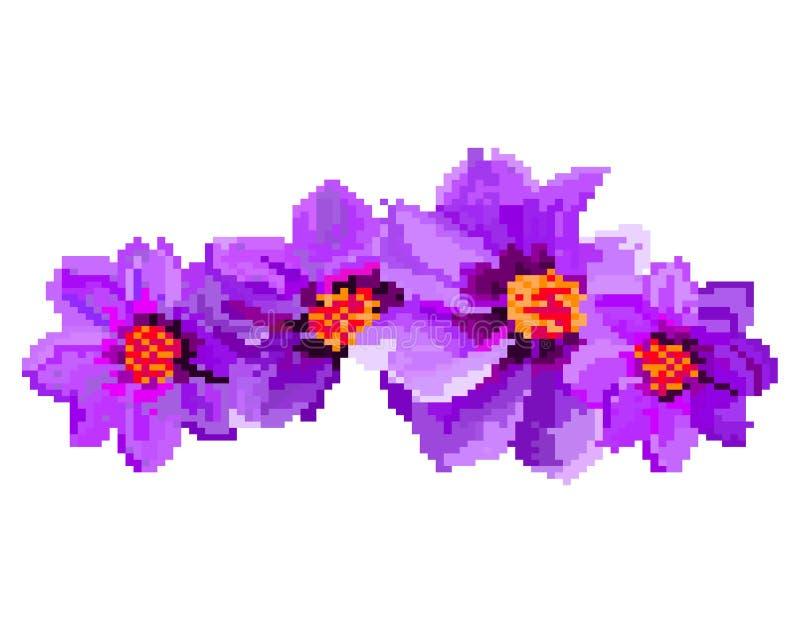 PIXELkonst av blommaillustrationen som isoleras på vit bakgrund vektor illustrationer
