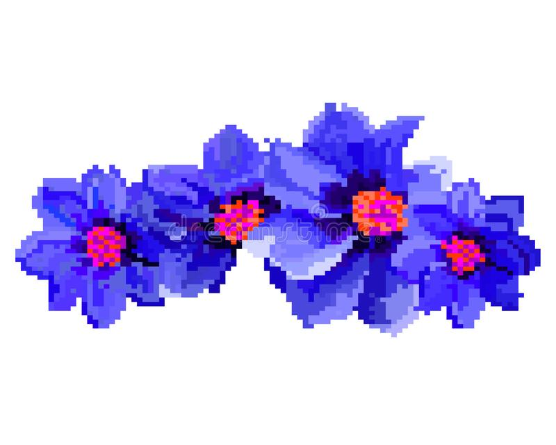 PIXELkonst av blommaillustrationen som isoleras på vit bakgrund stock illustrationer