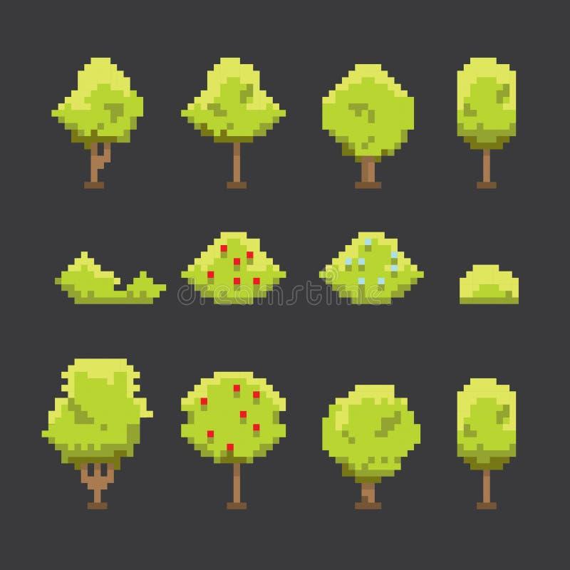 Pixelkunst-Baumsammlung lokalisiert stock abbildung