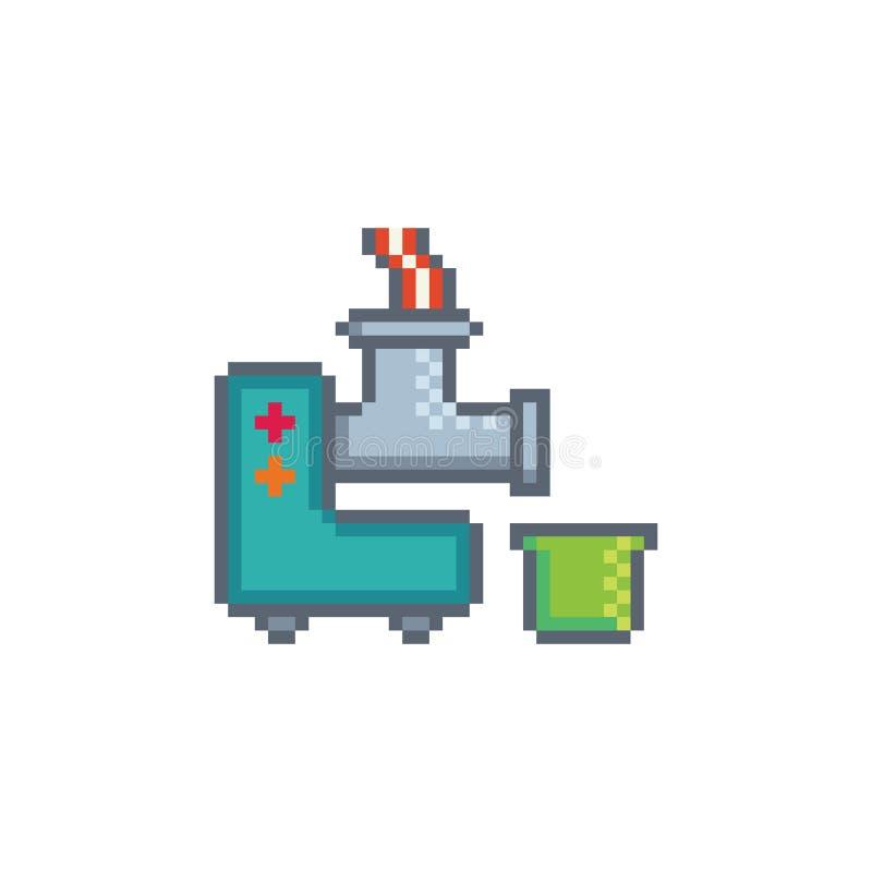 Pixelkunst-Fleischwolfikone stock abbildung