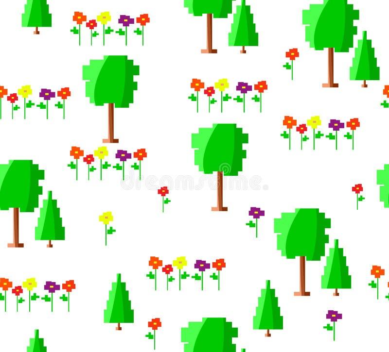 Pixelkunst-Grünsommer oder Frühlingsbaumsammlung lokalisiert auf weißem Hintergrund Vektorwaldnahtloses Muster für Spiele vektor abbildung