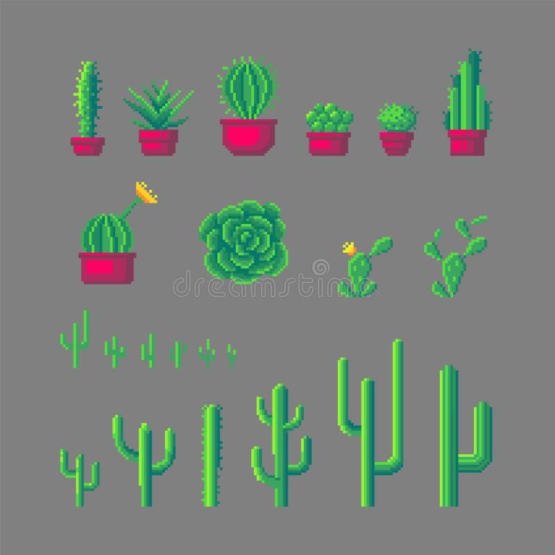 Pixelkunst-Kaktussatz vektor abbildung