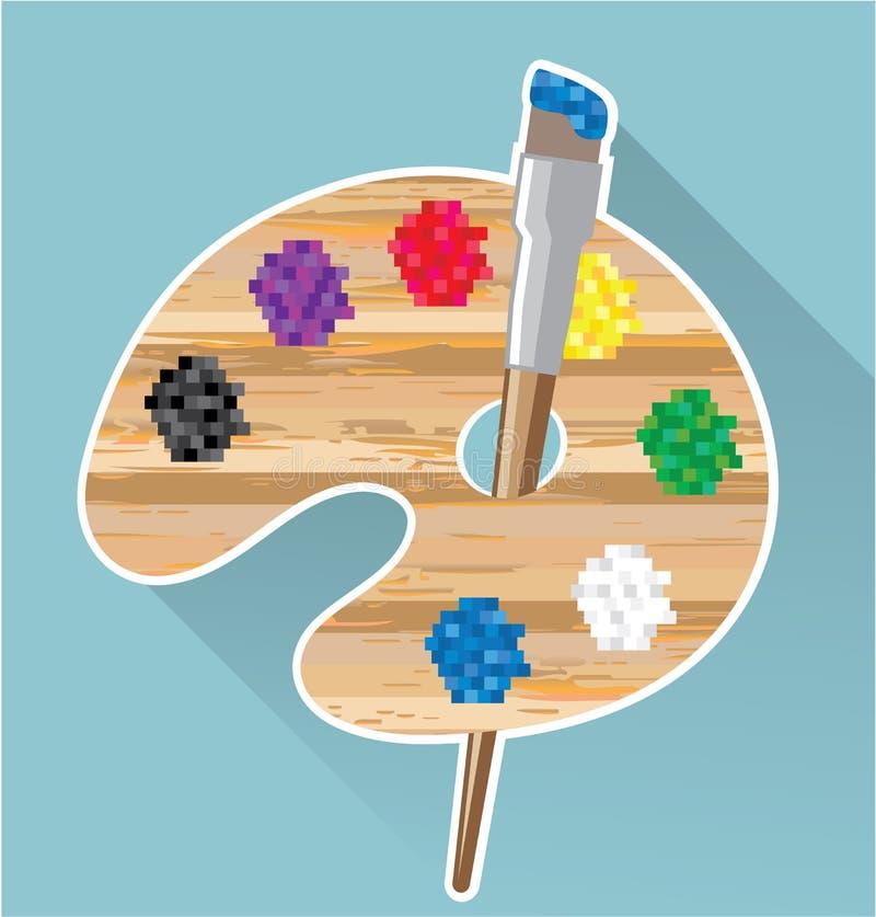 Pixelkunst Vektorkunst Künstler-Palette vektor abbildung