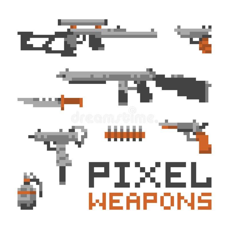 Pixelkunstspielartwaffen und -gewehre lokalisiert auf weißem Vektorsatz stockfotos