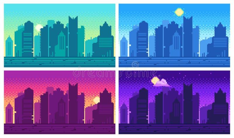 Pixelkunststadtbild Gebissene Stadtlandschaft der Stadtstraße 8, Nacht und städtischer Arcade-Spiel-Tagesstandort lizenzfreie abbildung