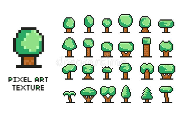 Pixelkunstvektor-Illustrationssatz - 8 grüne Baumikonen des Bits lokalisierten stock abbildung