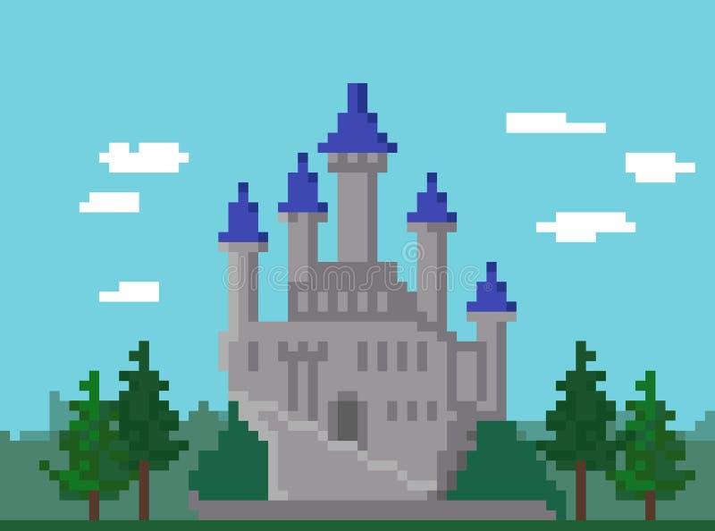 Pixellandschap met Kasteel royalty-vrije illustratie