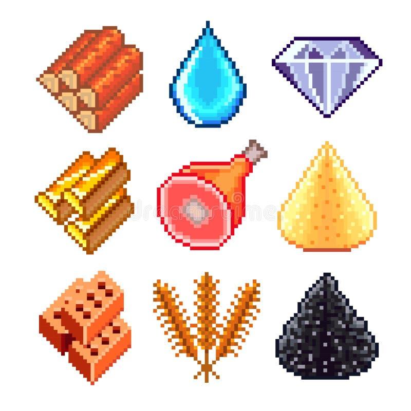 Pixelmiddelen voor de vectorreeks van spelenpictogrammen vector illustratie