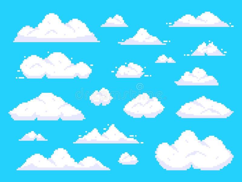 PIXELmoln Retro illustration för vektor för bakgrund för konst för PIXEL för moln för blå himmel för 8 bit flyg- royaltyfri illustrationer