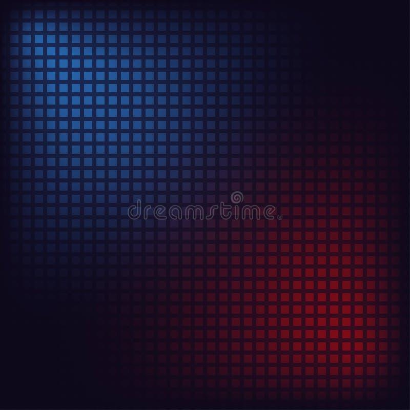PIXELmosaikbakgrund Blåa och röda fyrkanter digital bakgrund vektor royaltyfri illustrationer