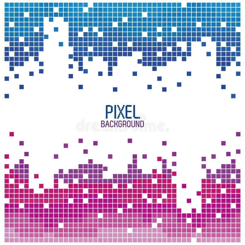 Pixelontwerp als achtergrond rood en blauw over wit royalty-vrije illustratie