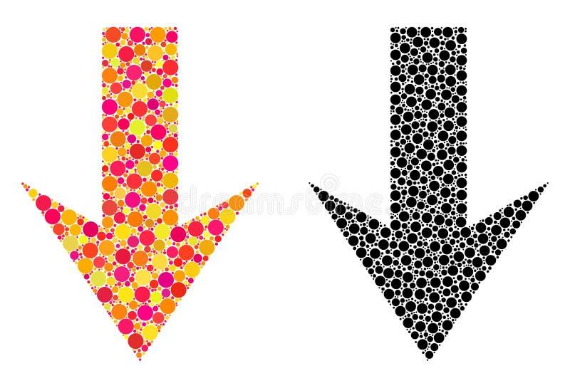 Pixelpfeil hinunter Mosaikikonen stock abbildung