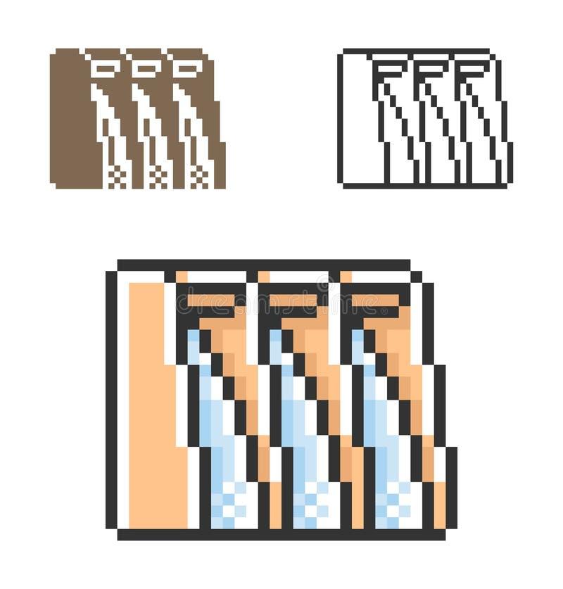 Pixelpictogram van hydro-elektrische elektrische centrale in drie varianten vector illustratie