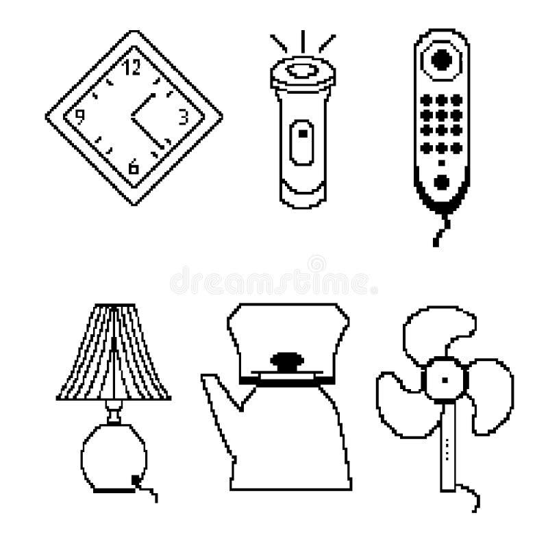 Pixelpictogrammen stock illustratie