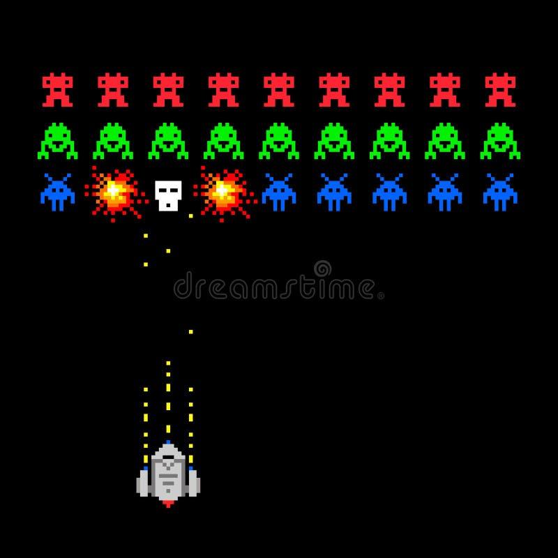 Pixelraum-Eindringlingsspiel stock abbildung