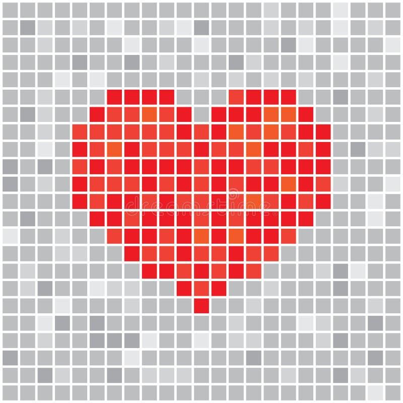 Pixels Art 3d Heart Designs Love Concept Stock Vector