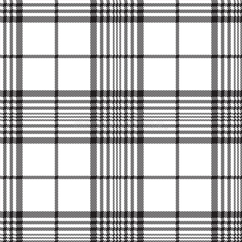 Pixels black and white check plaid seamless pattern vector illustration