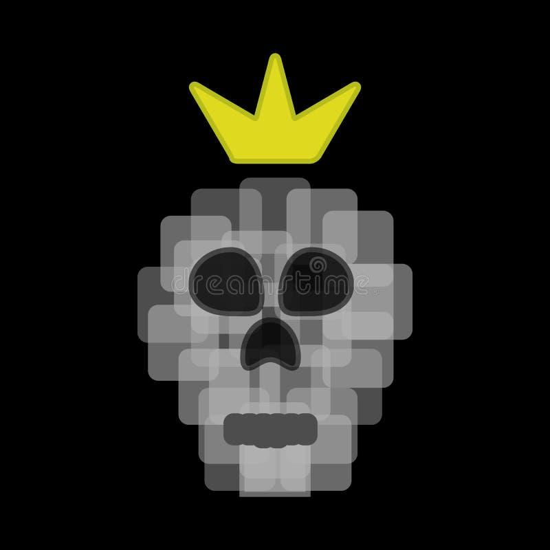 Pixelschedel met een kroon Vector illustratie royalty-vrije illustratie