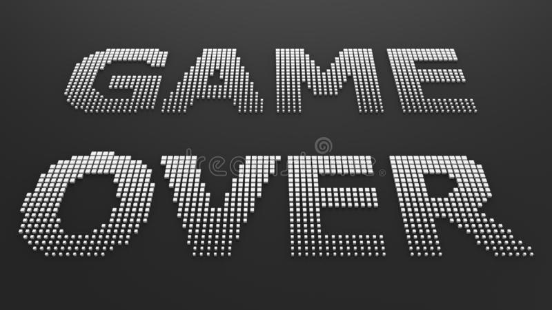 Pixelspel over het van letters voorzien op zwarte achtergrond stock foto's