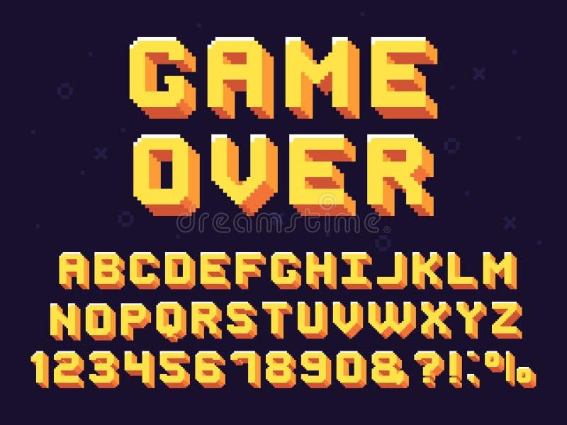 Pixelspielguß Retro- Spiele simsen, des Spiels 90s Alphabet und Vektorsatzes mit 8 BitComputergrafik-Buchstaben stock abbildung