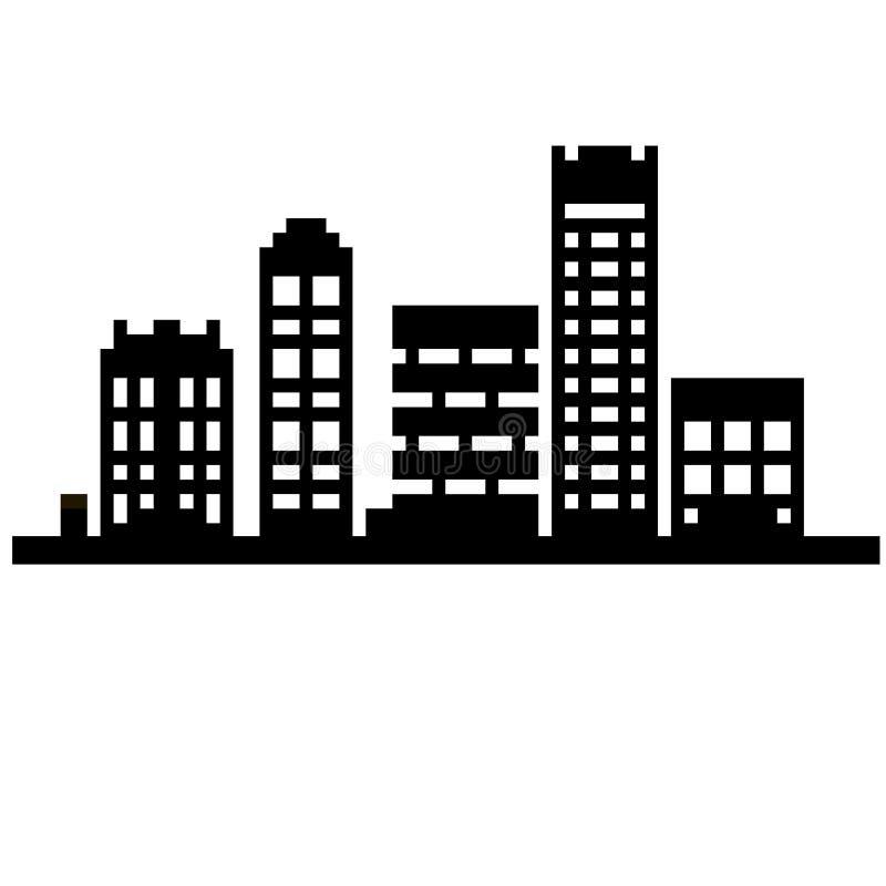 PIXELstadsbyggnader royaltyfri illustrationer