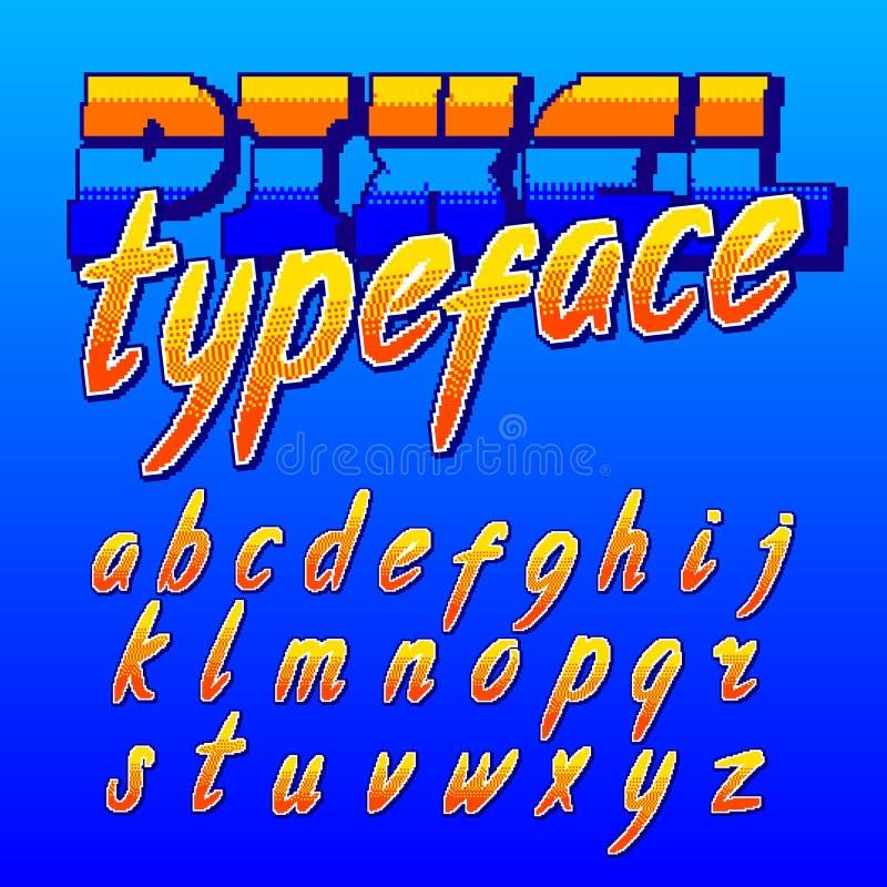 PIXELstilsort Retro stilsort för alfabet för gallerilek Små skriftbokstäver royaltyfri illustrationer