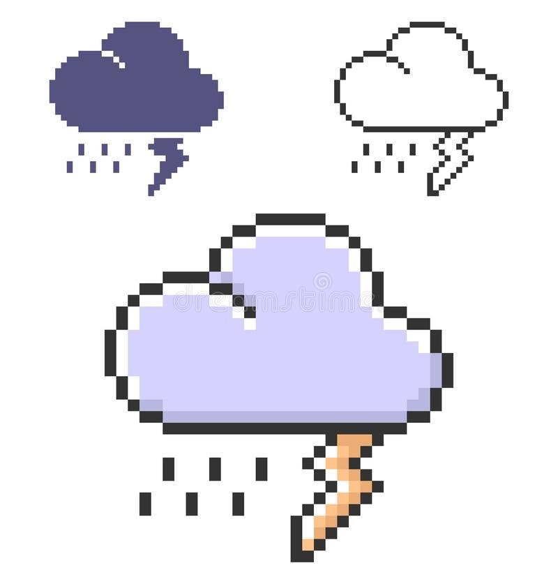 PIXELsymbol av åskvädret i tre varianter vektor illustrationer