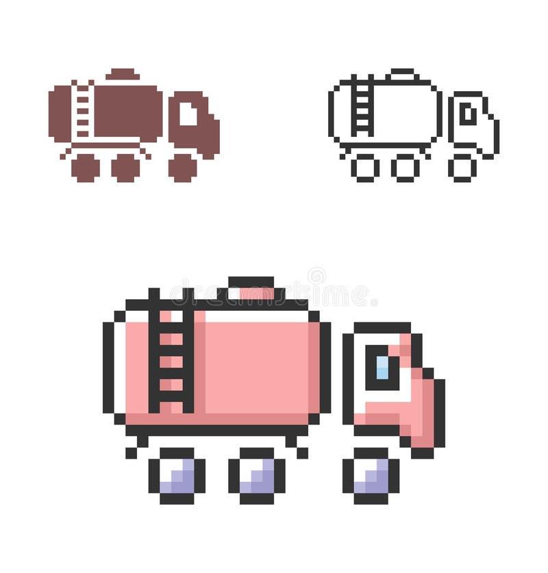 PIXELsymbol av bränslelastbilen i tre varianter vektor illustrationer
