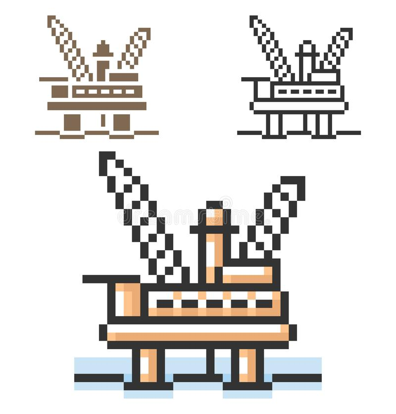 PIXELsymbol av den frånlands- olje- plattformen i tre varianter royaltyfri illustrationer
