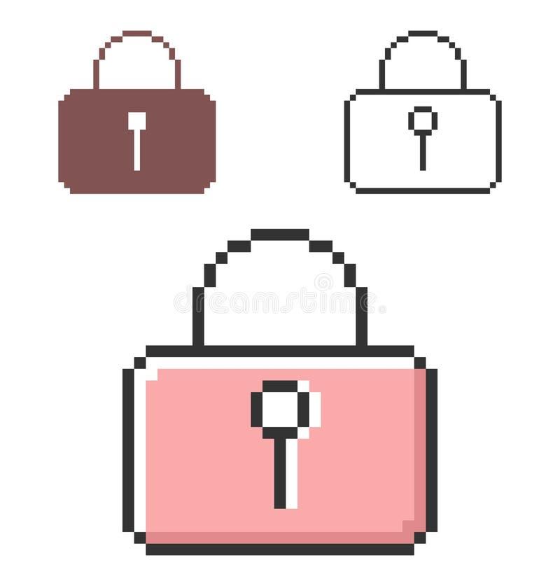 PIXELsymbol av den låsta hänglåset stock illustrationer