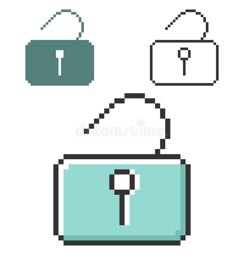PIXELsymbol av den låsta upp hänglåset royaltyfri illustrationer