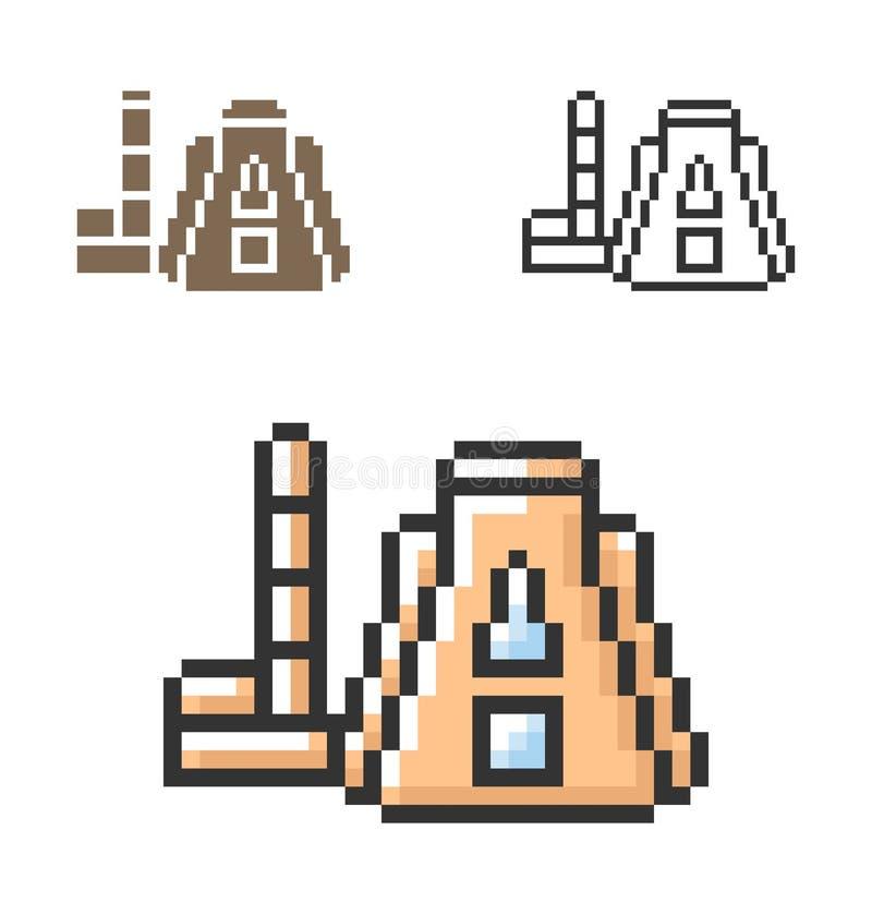 PIXELsymbol av den termal kraftverket i tre varianter royaltyfri illustrationer