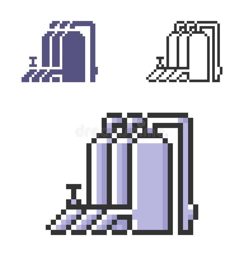 PIXELsymbol av denfördelning stationen i tre varianter royaltyfri illustrationer