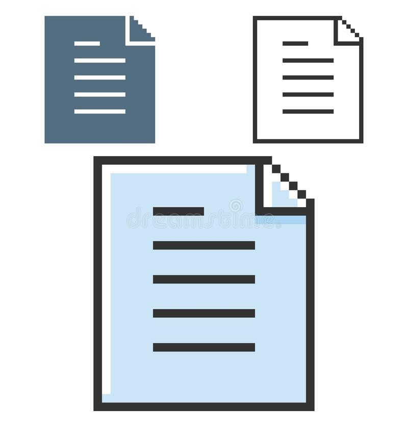PIXELsymbol av dokumentet stock illustrationer