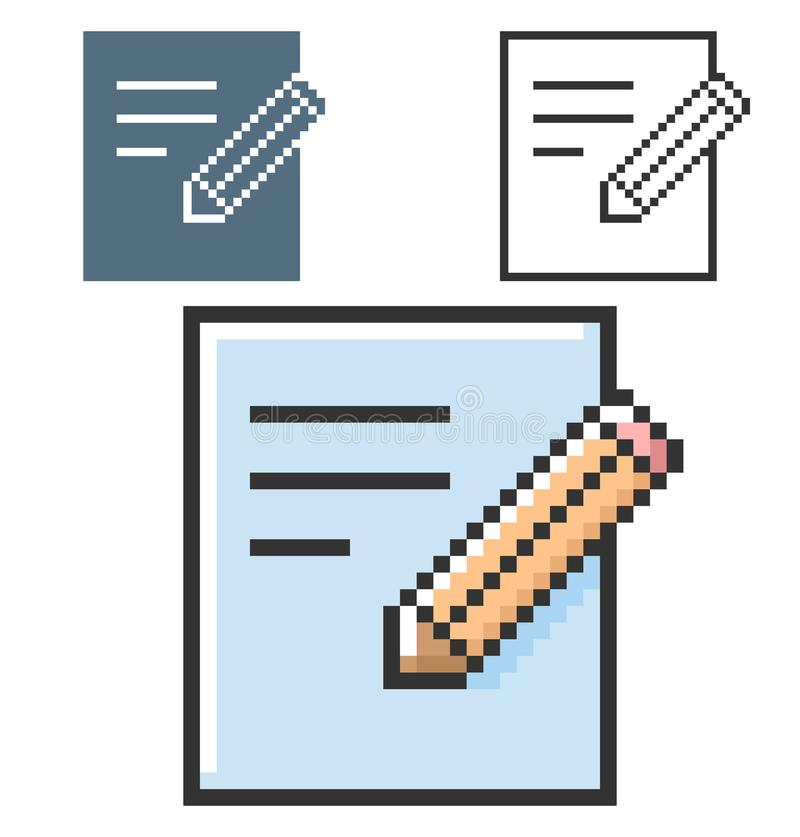 PIXELsymbol av dokumentet och blyertspennan vektor illustrationer