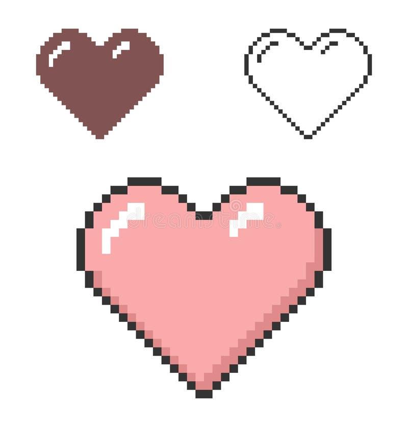 PIXELsymbol av hjärta stock illustrationer