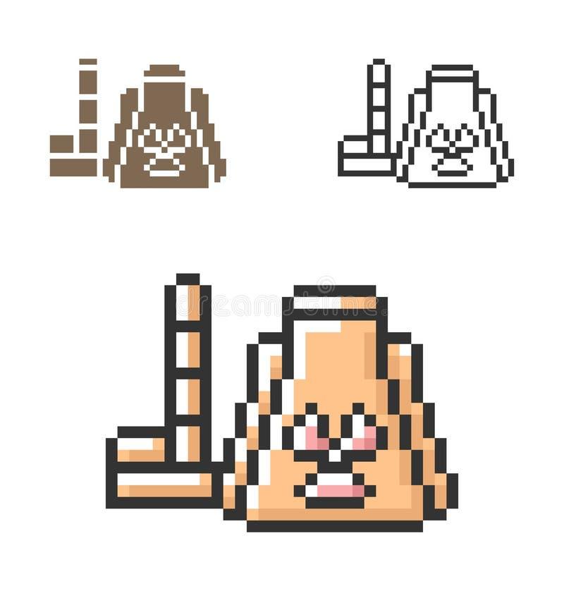 PIXELsymbol av kärnkraftverket i tre varianter stock illustrationer