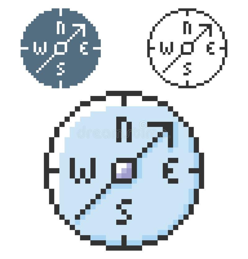 PIXELsymbol av kompasset i tre varianter vektor illustrationer