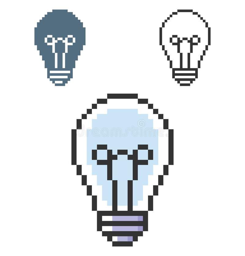 PIXELsymbol av lampan stock illustrationer