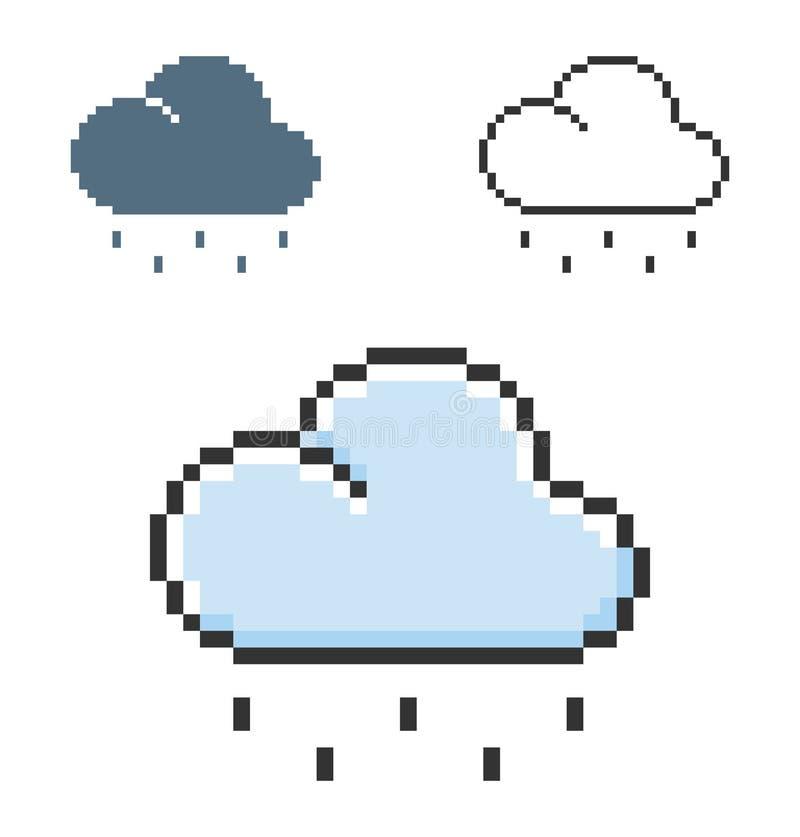 PIXELsymbol av ljust regnigt väder i tre varianter royaltyfri illustrationer