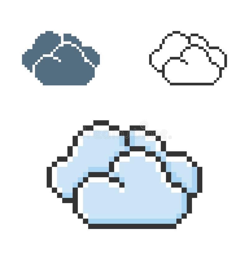 PIXELsymbol av molnigt väder för moln i tre varianter royaltyfri illustrationer