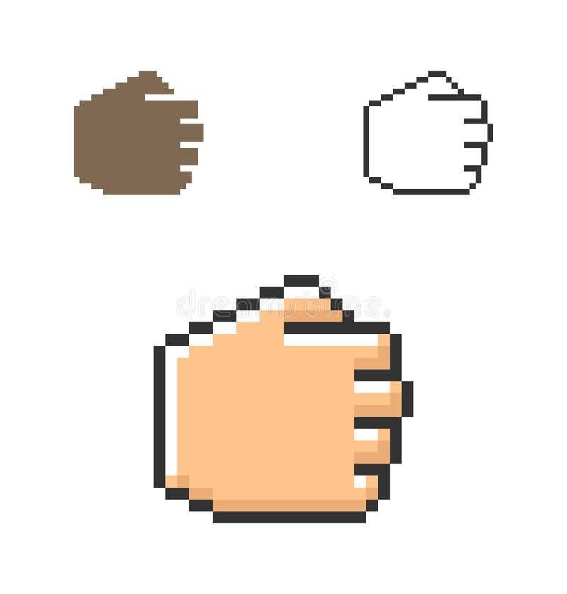PIXELsymbol av näven stock illustrationer