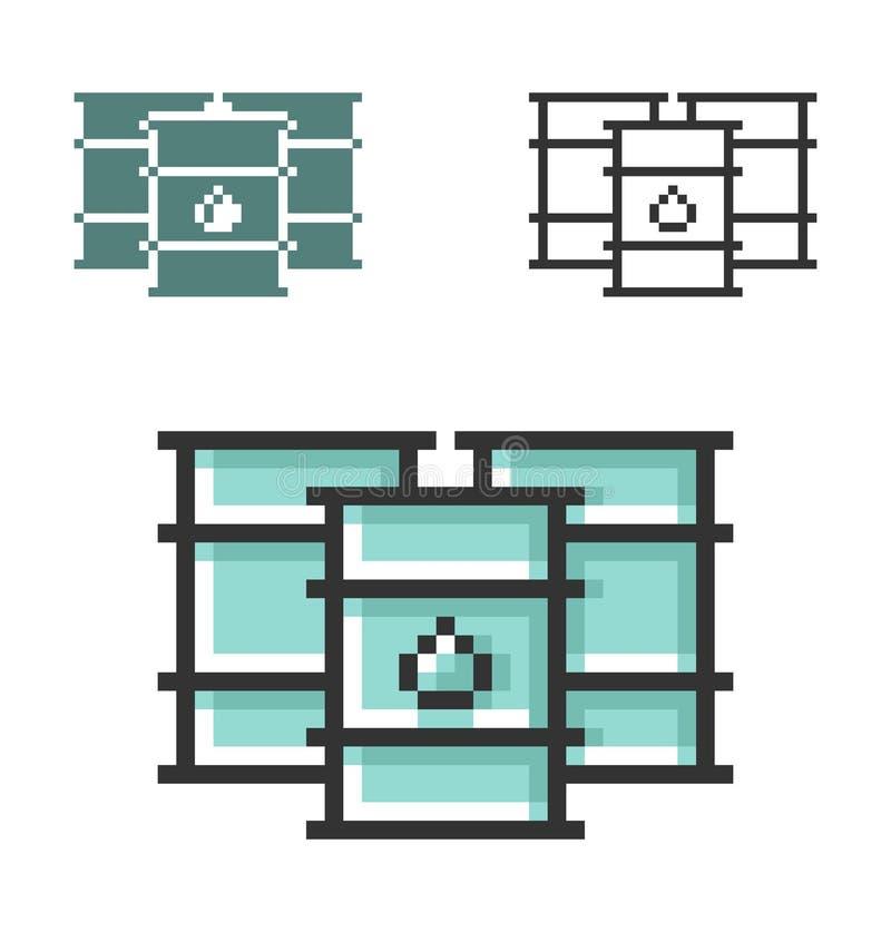 PIXELsymbol av olje- trummor i tre varianter royaltyfri illustrationer