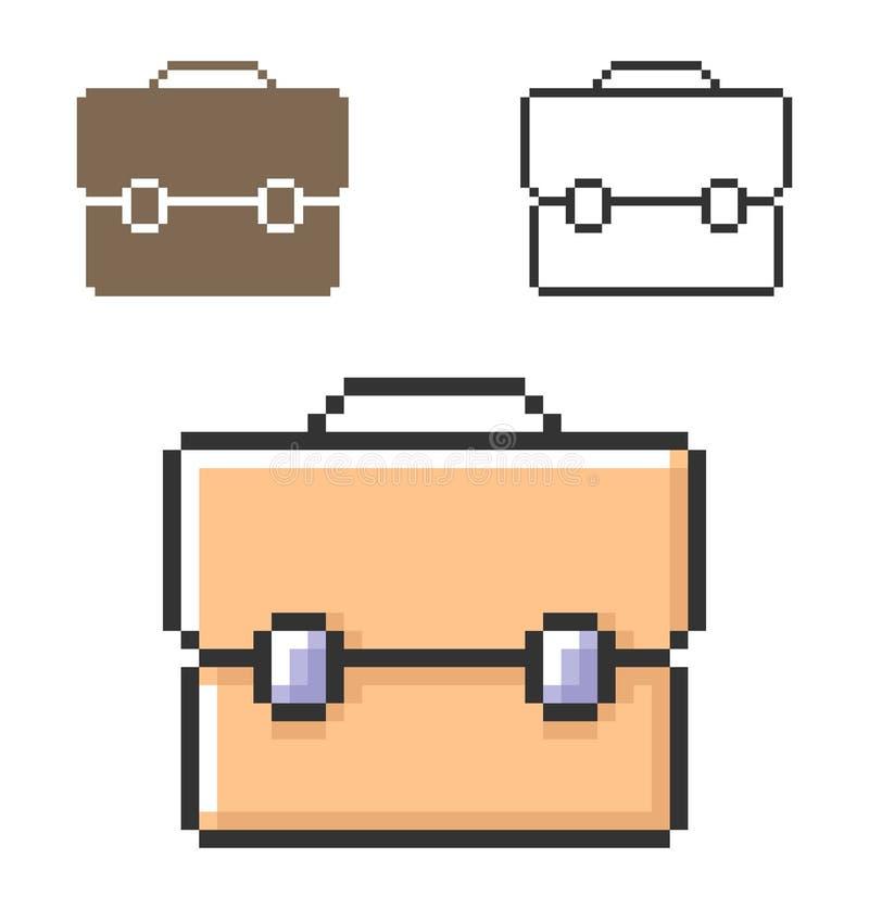 PIXELsymbol av portföljen vektor illustrationer