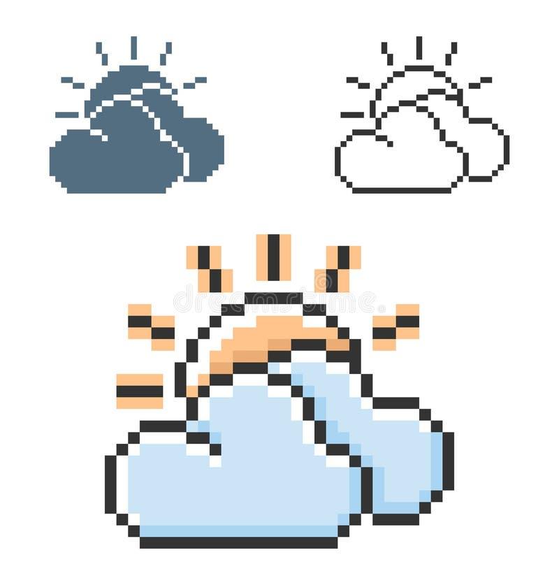 PIXELsymbol av solen med molnigt väder för moln delvis i tre varianter vektor illustrationer
