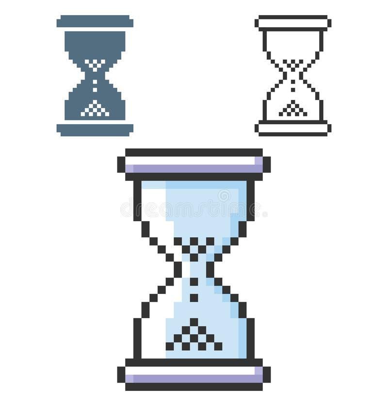 PIXELsymbol av timglaset royaltyfri illustrationer
