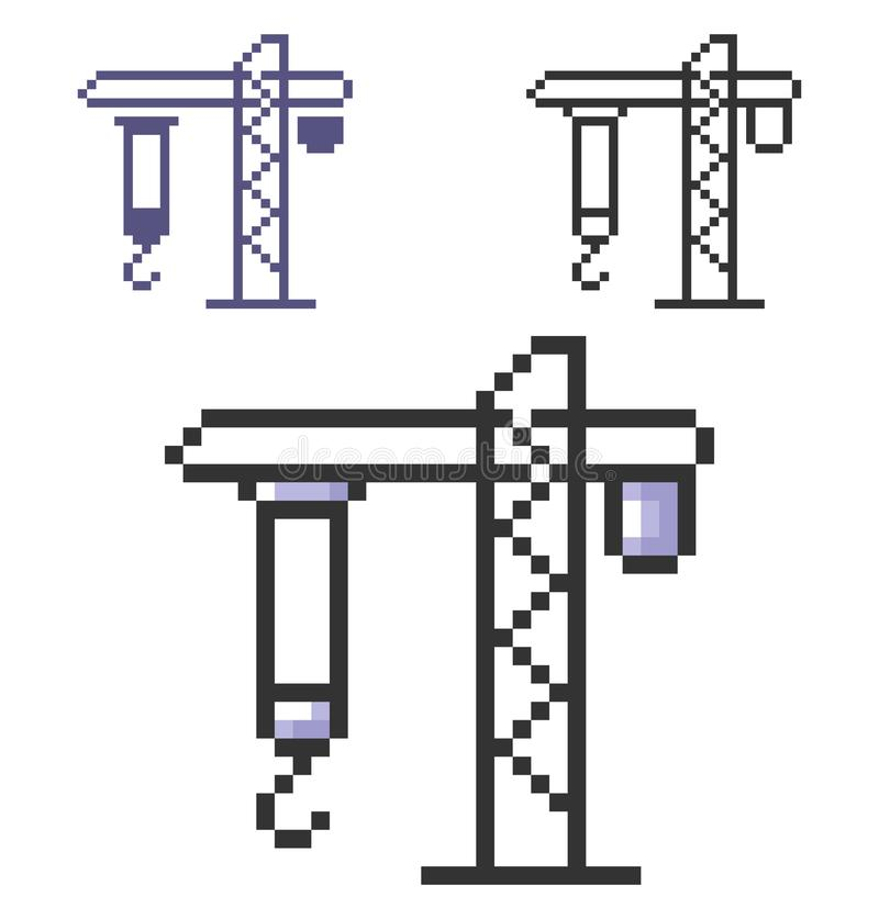 PIXELsymbol av tornkranen i tre varianter stock illustrationer