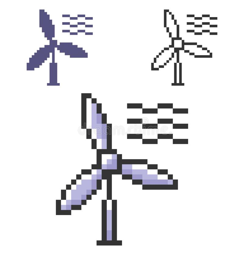 PIXELsymbol av vindturbinen i tre varianter royaltyfri illustrationer