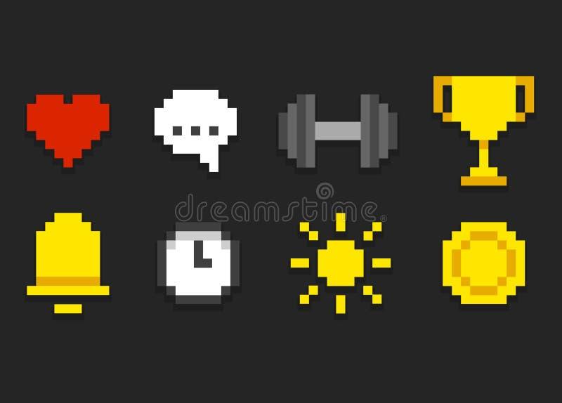 PIXELsymboler stock illustrationer