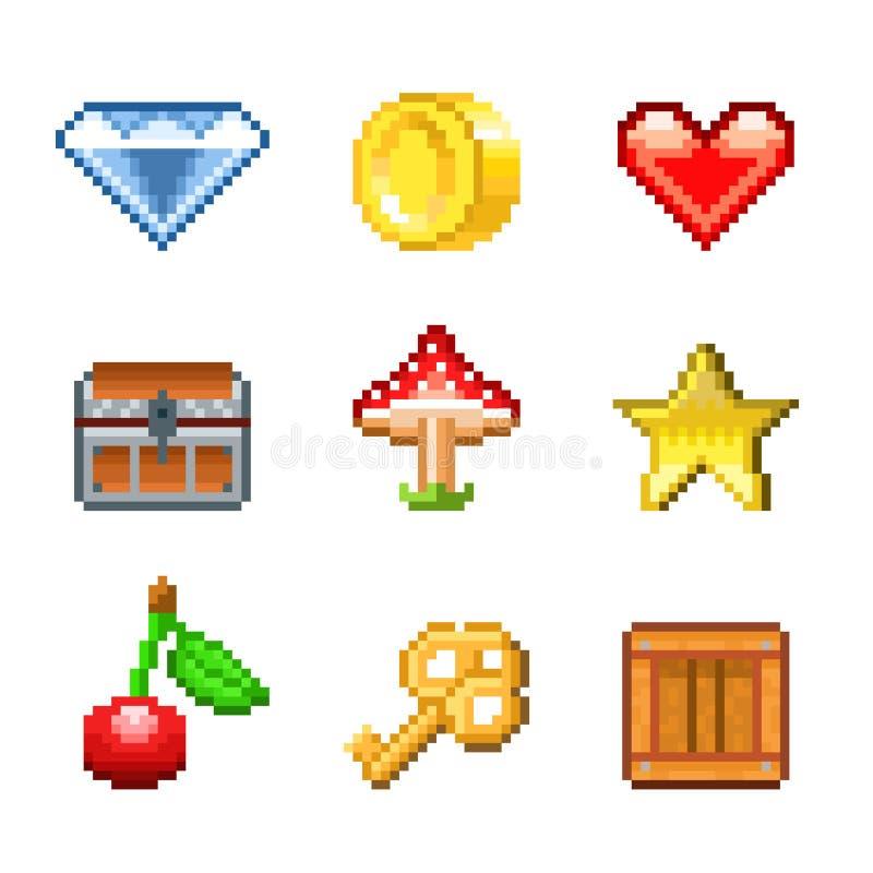 Pixelvoorwerpen voor de vectorreeks van spelenpictogrammen stock illustratie